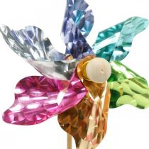 Mini-pinwheel, festdekoration, vindmølle på stangen farverig, dekoration til haven, blomsterknap Ø8,5cm 12stk.