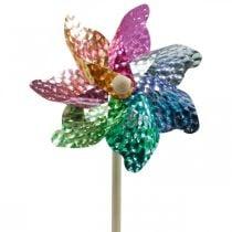 Vindmølle, sommerdekoration, pinwheel på stangen farvet, dekoration til børns fødselsdagsfest Ø16cm 4stk