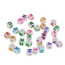 Mini terninger med bogstaver 7mm farvet 90g
