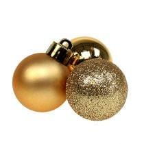 Mini julekugle guld Ø3cm 14stk
