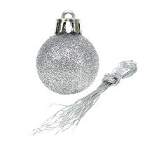 Minijule bauble sølv Ø3cm 14stk
