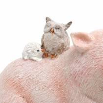 Dekorativt figur sæt piggy med dyrevenner 9,3 cm × 7,5 / 8,5 cm 2stk