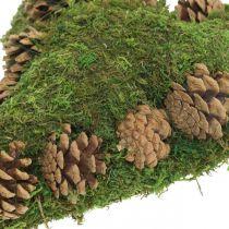 Grav dekoration hjerte mos og kegler arrangement base 30 × 19cm