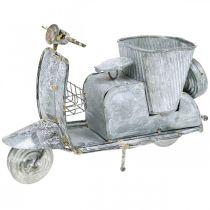 Urtepotte motor scooter metal vintage hvid vasket 35 × 12 × 23cm