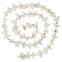 Shell krans med perler hvid 100 cm
