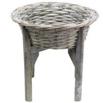 Kurvskål med træstativgrå, hvidvasket Ø40cm