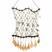 Dekorativt net til hængning med naturlige skaller 25 × 45 cm