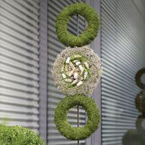 Floral skum ring krans grå H3cm Ø20cm 6stk