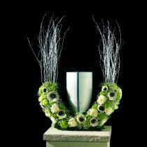Blomsterskum urner halvring H29cm Ø47cm 1pc sorgsmykker