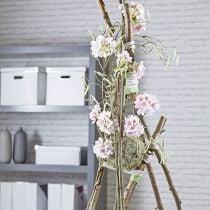 Blomstret skumkugle tør pasta grå Ø16cm 2stk