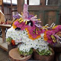 Blomsterskum enhjørning 68 cm x 60 cm