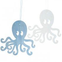 Blæksprutte til at hænge blå, hvid træ blæksprutte Maritim sommerdekoration 8stk