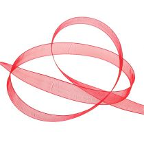 Organza bånd med selvedge 1,5 cm 50m rød