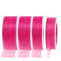 Organza bånd med selvedge 50 m lyserødt