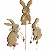 Påskehare på en pind dekorativ prop kaniner træ natur påske dekoration 24stk