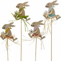 Påskehare med blomst, kanindekoration til påske, kanin på en pind, forår, trædekoration blomsterknap 12stk