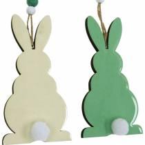 Påskekaniner at hænge, forårspynt, vedhæng, dekorative kaniner grøn, hvid 3stk