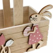Påskekurv med kaniner Påskedekoration til hængning af påskekurf forårsdekoration 2stk