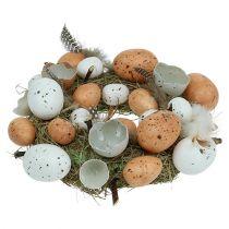 Påskekrans med æg Ø24cm naturlig, hvid
