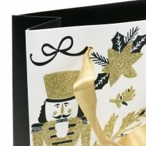 """Gavepapirpose """"Merry Christmas"""" guldglitter H30cm 2stk"""