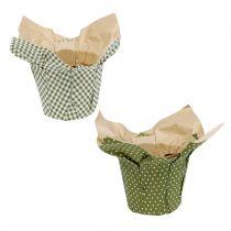 Papirkrukke med mønster grøn-hvid Ø9,5cm 12stk