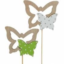 Plantestik sommerfugl på pind træ fjeder dekoration 16stk