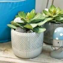Keramikplanter, flettet mønsterpotte, keramikpotte Ø13cm 3stk