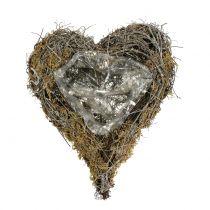 Plantehjerte lavet af vinstokke og naturlig mos 20 cm x 14 cm