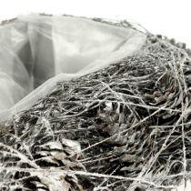 Plantehjerte lavet af kegler 17 cm x21 cm hvid 2stk