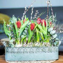 Metalplanterkasse med håndtag Vintage planter Blomsterkasse, sæt med 2