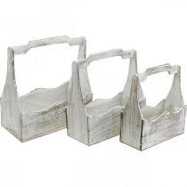 Plantekasse, værktøjskasse, blomsteræskehåndtag, trecontainersæt 33,5 / 30,5 / 26,5 cm