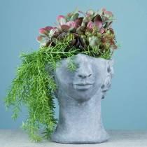 Plantehovedbust lavet af beton til udplantning af grå H23,5cm