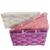 Chip kurv firkantet lilla / hvid / pink 8stk