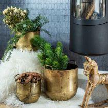Plante urtepotte i antikt look med metalhåndtag H17 / 19,5 / 26cm, sæt med 3 stk