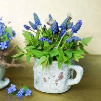Plantekrukkebæger kop vintage grå, naturlig ler Ø8,5cm H8cm 4stk