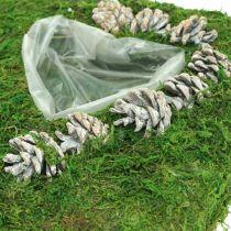 Plantepude hjertemos og kegler, vasket hvid 25 × 25cm