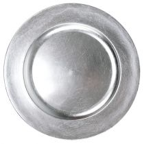 Plastplade 25 cm sølv med sølvbladeffekt
