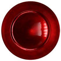 Plastplade rød Ø17cm 10 stk