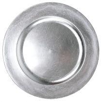Plastplade sølv Ø17cm 10stk
