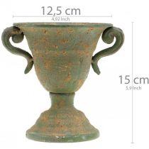 Metalamfora, plantebæger, bæger med håndtag Ø12,5cm H15cm