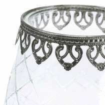 Dekorativt glas bæger med metalbund Ø16cm H23.5cm