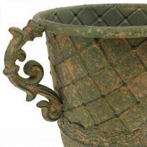 Kop til plantning, kalk med håndtag, metalbeholder antikt look Ø15,5cm H23,5cm