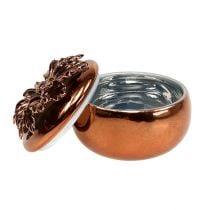 Porcelænskasse kobber Ø7,5cm H6cm
