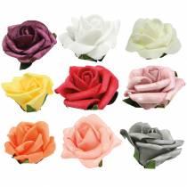Skum-rose Ø6cm forskellige farver 27stk