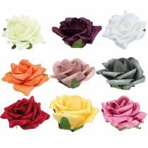 Foam-Rose Ø7.5cm forskellige farver 18stk