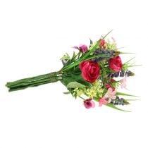 Ranunculus buket med druehyacinter pink 25cm