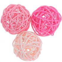 Rattan ball pink pink Ø5cm 18stk