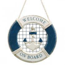 Dekorativ redningskrans, maritim, flydende ring til at hænge op Ø14cm