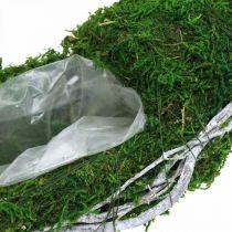 Mosekrans plantering med vinstokke og mosegrøn, hvid Ø35cm
