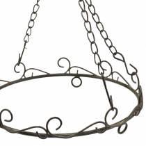 Dekorativ ring med krog til ophæng af rustbrun Ø20,5cm